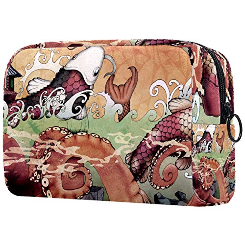 Large Makeup Bag Zipper Pouch Travel Cosmetic Organizer for Women and Girls - Octopus Fish Art