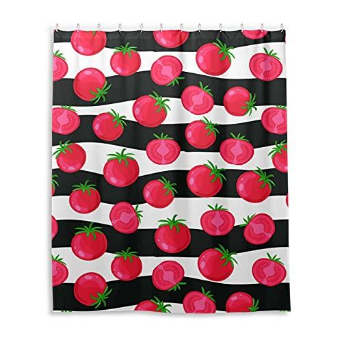PUXUQU Duschvorhang Tomate Muster Streifen Shower Curtains Wasserdichter Badvorhang mit 12 Haken 152 x 182 cm