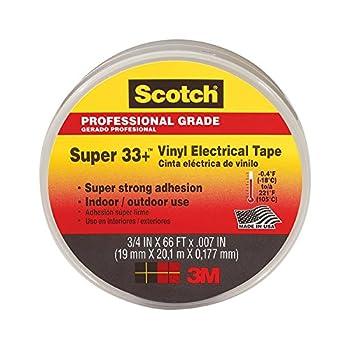 3M Scotch Super 33+ Vinyl Electrical Tape .75-Inch by 66-Feet 3-PACK
