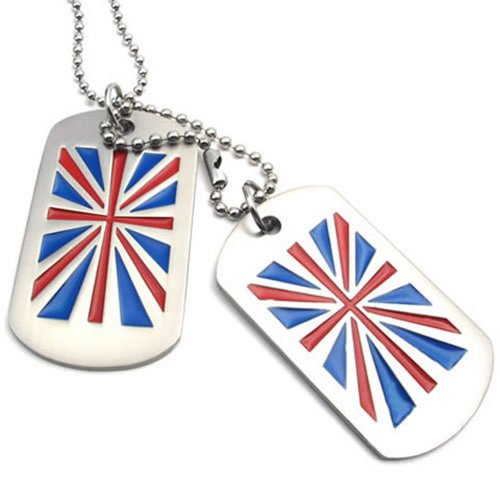 Konov Jewellery 2pcs Men's Army Style British Flag UK Union Jack Dog Tag Pendant Necklace Chain, Colour Blue Red Silver (with Gift Bag)