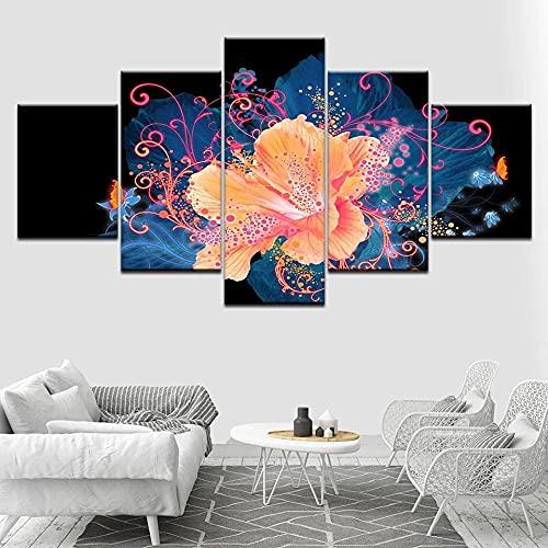 5 Piezas de Arte Marco Cuadros Decoracion Salon Hermosas Flores Naranjas Moderno HD sobre lienzos impresión Cuadro Usado para Sala Oficina Hogar Decoracion de Pared