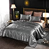 NTBED Silky Satin Comforter Set Queen Silver, Luxury Soft Microfiber Bedding Lightweight Sexy Wave Quilted Blanket Set with 2 Pillow Covers for Summer Spring Autumn