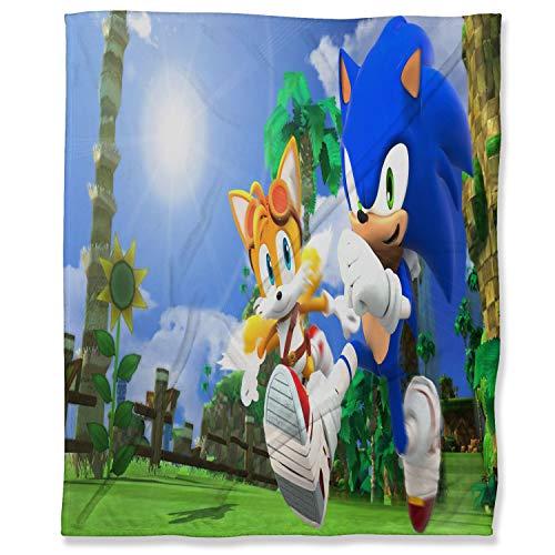 ARYAGO - Manta de franela (150 x 200 cm), diseño Sonic The Hedgehog Fuzzy franela para sofá, Sonic Force