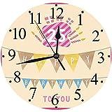 lautlosem Uhrwerk - 30 cm R& Wanduhr,25. Geburtstag Dekorationen, rosa Rahmen niedlichen Flaggen mit Buchstaben brennende Kerzenhalter Gesche,für Wohn- /Schlaf-Kinderzimmer Büro Cafe Restaurant