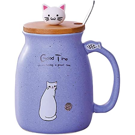 Cat Mug Cute Ceramic Coffee Cup with Lovely Kitty wooden lid Stainless Steel Spoon,Novelty Morning Cup Tea Milk Christmas Mug 380ML (Purple)