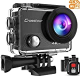 Crosstour Action Camera 4K 20MP Webcam WiFi Vlogging Camera Underwater 40M with Remote Control IP68 Waterproof Case