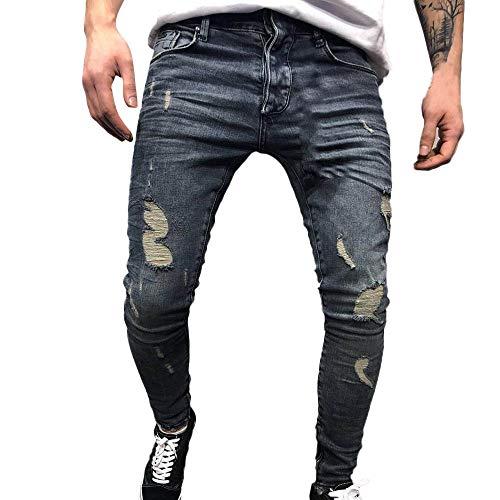 Riou Herren Jeans Slim fit Stretch Zerrissen Destroyed Denim Skinny Jeanshose Freizeithose