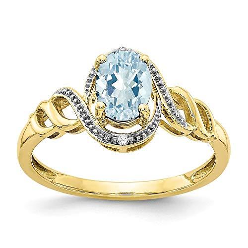 10 K aguamarina - anillo de diamantes en bruto de mayor grado de oro 9ct oro - JewelryWeb