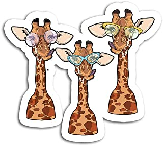 Hand Wooden Customizable Sticker Smiling Giraffes Wearing Sunglasses Funny Animal Selfie Stickers for Personalize (3 pcs/Pack)