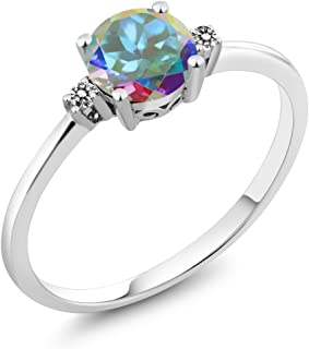 Gem Stone King 10K White Gold Engagement Solitaire Ring set with 1.03 Ct Round Mercury Mist Mystic Topaz and White Diamonds