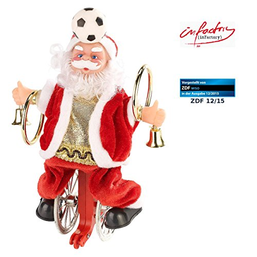 infactory Singender Weihnachtsmann: Weihnachtsmann auf Einrad, mit Fussball (Weihnachtsmann auf Fahrrad Seil)