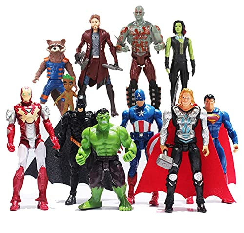 New 2021 11PCS Superhero Action Figures Set - Galaxy Heroes and Classic Heroes Action Figures Toys Pieces - Super Heroes Toys 5-inch Toys PVC Cake Toppers Gifts Decoration