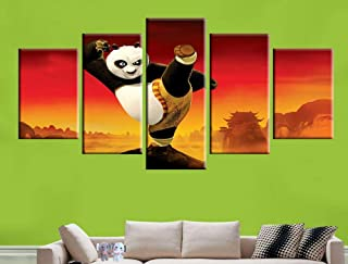 KTFBH 5 Pieces of Living Room Canvas Painting Hd Painting Kung Fu Panda Poster Canvas Art Wall Decoration Home Decoration Picture-Frameless