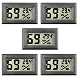 Mini Hygrometer, 5-Pack Thermometer Hygrometer Digital LCD Monitor Indoor Outdoor Humidity Meter Gauge for Humidifiers Dehumidifiers Greenhouse Basement, Measure in Celsius