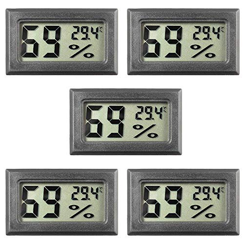 5-Pack Mini Hygrometer Small Digital Thermometer Hygrometer LCD Monitor Indoor Outdoor Humidity Meter Gauge for Car Greenhouse Home Office