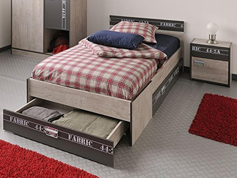 Jugendbett Fabien 3, 90x200cm, Nachttisch + Bettksten, Esche-Grau, Jugendzimmer