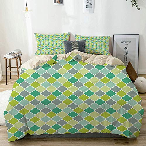 Jojun Duvet Cover Set Beige,Teal Vibrant Trellis Quatrefoil Print,Decorative 3 Piece Bedding Set with 2 Pillow Shams Easy Care Anti-Allergic Soft Smooth