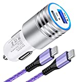 USB C Car Charger for Google Pixel XL 2XL 3XL 4XL 5XL 4a 3a 6 5 4 3 2, 30W PD Fast Charging Type C Car Charger Adapter with USB C to USB C Cable for Samsung Galaxy S21+ S20 FE Note 21+ Note 20 Ultra