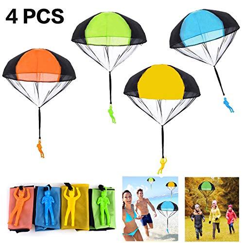 EXTSUD Fallschirm Spielzeug Kinder, 4 Stück Fallschirmspringer Hand werfen Fallschirm Kinder Outdoor Spielzeug Flugspielzeug Geschenk für Kinder , Wurf Parachute Spiele für Draußen
