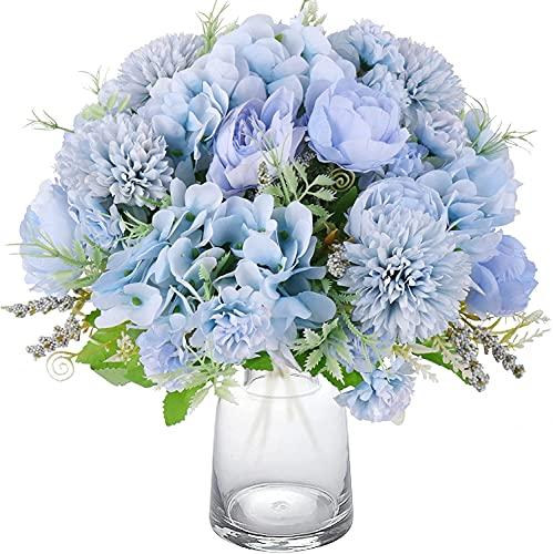 Decpro 2 Piezas de hortensias de Seda de peonía Artificial, claveles de crisantemo, Todos los Ramos de Flores para Bodas, hogar, Oficina, jardín, decoración, centros de Mesa(Azul Claro)