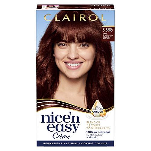 Clairol Nice'n Easy Crème, Natural Looking Oil Infused Permanent Hair Dye, 3.5BG Dark Burgundy Brown