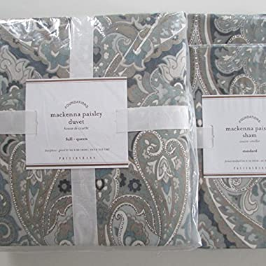 Pottery Barn MACKENNA PAISLEY Duvet Full/Queen & Two Standard Shams Blue NWT