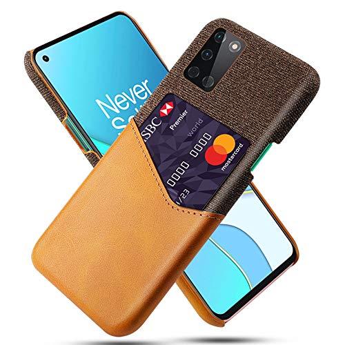 AOUVIK Estuche para Tarjetas Delgado Compatible con Oneplus 8T, Oneplus 8 Pro, Estuche para teléfono One Plus 8 con Soporte para Tarjetas, diseño de Ranura para Tarjetas de Cuero,Amarillo,8 Pro