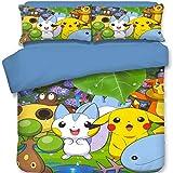 THAVASAM Pokemon Pikachu Parure de lit pour enfant avec housse de couette Pikachu pour la décoration de la pièce Le meilleur choix pour les cadeaux (02, 180 x 210 cm)