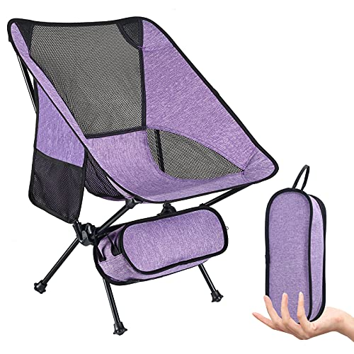 Camping Chairs Outdoor Ultralight Compact Portable Folding Backpacking Chair Cationic Fabric for Beach Outdoor Picnic Travel Fishing Hiking Up to 330lb (Purple)
