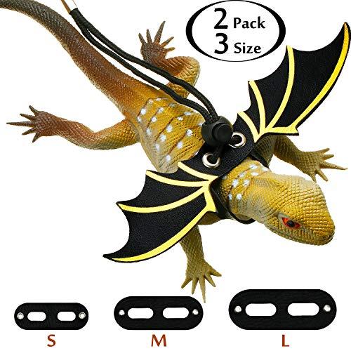 Boao 2 Sätze Verstellbare Eidechse Leine Bärtiger Drache Geschirr Sicherheit Laufleine mit Cooler Flügel Form 3 Größen S/M/L