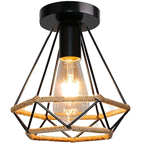 Lámpara de Techo Vintage de Hierro, TOKIUS 20CM Industrial Cuerda de Cáñamo Plafón Techo 60W E27 Iluminación de Techo Interior para Cocina Dormitorio Pasillo (1 Pieza)