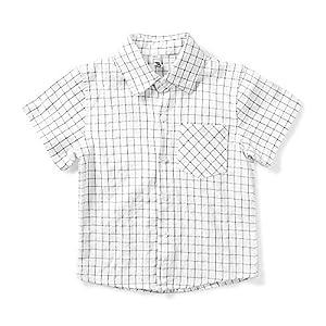 ボタンシャツ キッズ 半袖 チェックシャツ ボーイズ ワイシャツ 男の子 コットン 子供服 フォーマル 入学式 入園式 おしゃれ ホワイト 130cm(JP120cm)
