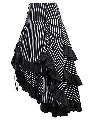 Belle Poque Gothic Steampunk Victorian Corset High Low Skirt Edwardian Ruffled Long Skirt Black 4XL #3