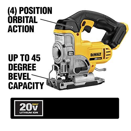 DEWALT 20V MAX Jig Saw, Tool Only (DCS331B) , Yellow