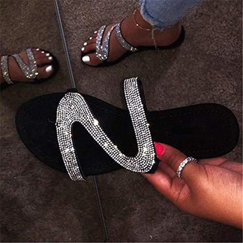 xiangqian dames sandalen Bohemia wiggen Elastische T Flat Sandalen wandelschoenen Non-slipWomen's flip-flops, comfortabele platte maat slippers