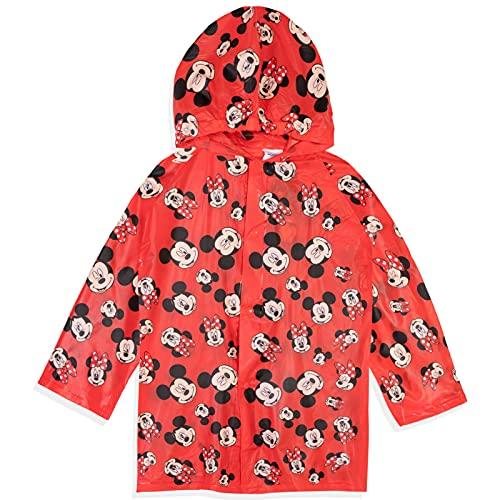 Chaquetas de lluvia para niños con temática de personajes para chicos y niñas, ligera, poncho compacto de emergencia con capucha de 2 a 9 años, Minnie y Mickey Mouse, color rojo, 6-7 Years