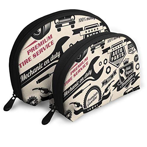 Shell Shape Makeup Bag Set Portable Purse Travel Cosmetic Pouch,Car Repair Shop Logos Monochrome Car Silhouettes Best Garage In Town,Women Toiletry Clutch