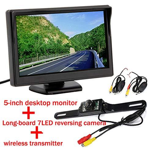 5Inch couleur TFT LCD moniteur de vue arrière de voiture parking écran de moniteur de recul pour DVD VCD Caméra de recul avec 7 LED vision nocturne vue de recul de voiture Vue arrière de recul caméra de recul CMOS étanche avec émetteur sans fil