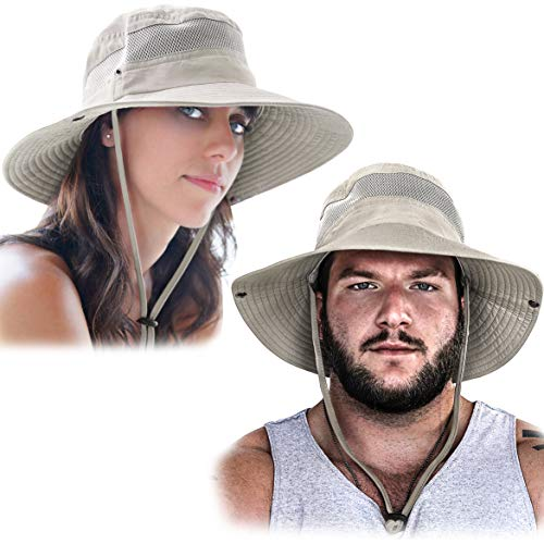 GearTOP Fishing Hat and Safari Cap with Sun Protection | Premium Hats for Men and Women (Beige (2 Pack)
