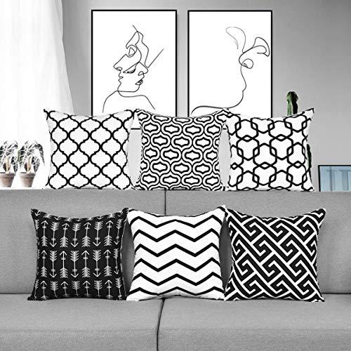 Alishomtll Kissenbezug Outdoor Kissenhülle Geometrische Muster Zierkissenbezüge Deko 6er Set für Sofa Zimmer Polyester 45 x 45 cm, Schwarz