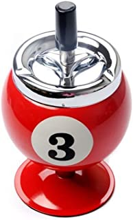 NERLMIAY 1 PCS Fashional Stainless Steel Billiard Ball Ashtray Cigar Ashtray Suitable for Indoor and Outdoor(red)