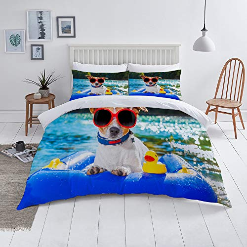 Flyerer Duvet Cover Set-Bedding,Funny Jack Russell Dog with Sunglasses Sitting on The Lake Beach Puppy at Beach,for Single Double King Bed/Made of Ultra-Soft Microfiber