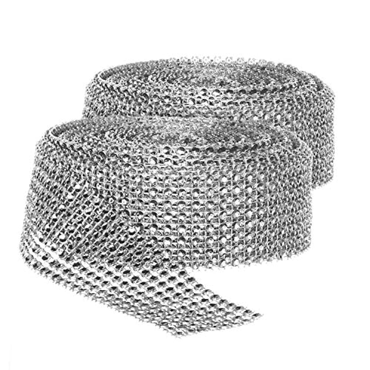 Rhinestone Diamond Bling Wrap Ribbon for Wedding Cake, Party, Holiday & Home Decoration, Silver 8-Rows, (2 Rolls) 10 YDS EA.