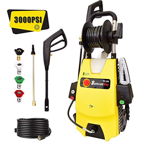 SurmountWay Electric Pressure Washer 3000PSI 1.6GPM Pressure Washer ,High Power Washer Machine with Hose Reel, Adjustable Nozzle for Car Patio Garden Yard Cleaner (Yellow)