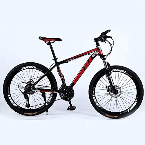 Qinmo Mountain Bike, Country Mountain Bike 24/26 Pollici con Doppio Freno a Disco, Adulto MTB, Hardtail Bicicletta con Sedile Regolabile, Ispessito Acciaio al Carbonio Telaio