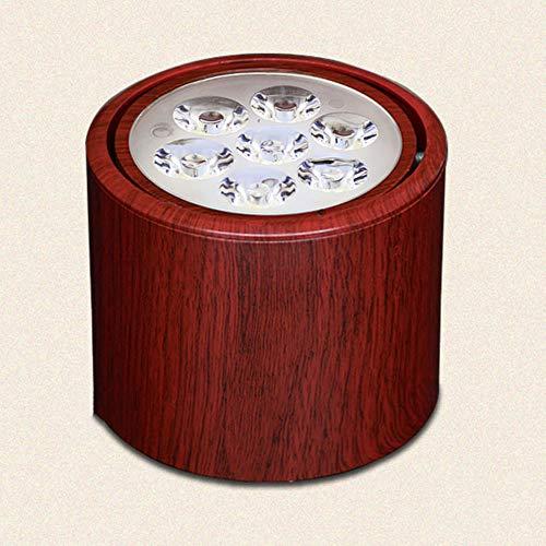 Foco de techo LED de 5 W, 3000 K, luz cálida, diseño cilíndrico, regulable, núcleo interior ajustable, para salón, dormitorio, habitación de hotel, color rojo de madera