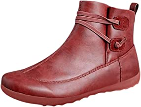 Women's Flat Waterproof Vintage Leather Boots Shoes Winter Round Toe Ankle Boots
