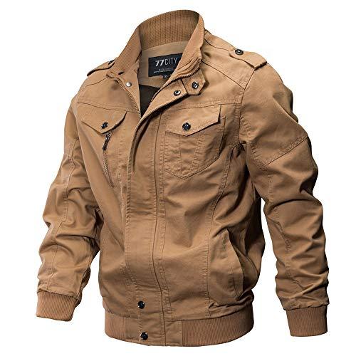 VECDY Herren Jacken,Räumungsverkauf-Herren Herrenbekleidung Jacke Mantel Military Bekleidung Tactical Outwear Atmungsaktiver Mantel Lässige warme Jacke Knopf Herbst Kleidung(Khaki,60)