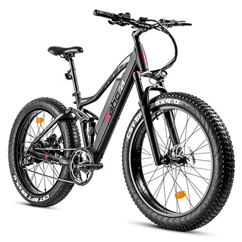 """eAhora AM200-26""""X4.0"""" Fat Tires 500W Electric Mountain Bike - Dual Hydraulic Brakes/Full Air Suspension/48V 10.4Ah Battery/E-PAS Tech/9 Speed Shimano Transmission System/Colored Display Screen"""