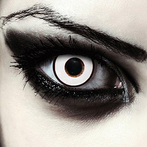 Weiße farbige Zombie Kontaktlinsen ohne Stärke mit schwarzem Ring Halloween Zombie Kostüm, 2 Stück, Designlenses, Model: Zombie Eye